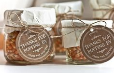 """Thanks For Popping By"" popcorn favors #jar #tag #personalized #gift #thankyou"