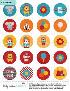 Circus - Printable 1.5 inch Circle Digital Collage Sheet - Commercial use for…