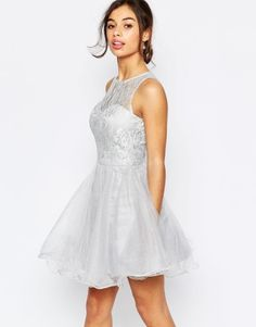 Chi Chi London Petite Lace Prom Dress With Open Scallop Back at asos.com | Prom Dresses