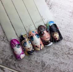 Быстрые и простые личики я влюбилась в #аниме Зная технику рисунок занимает 10 минут Мои первые девчули ☺️☺️...буду продолжать их совершенствовать #росписьногтей #дизайнногтей #аниме #nails #nails #nail #nailart #naildesign #маникюр#маникюршилак #шипиловская#маникюршипиловская #venzel #venzelnails