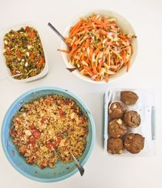 Roasted Tomato and Brown Rice, Curried Freekeh, Whole Wheat Appleand Coconut Muffins, Sweet Potato Salad