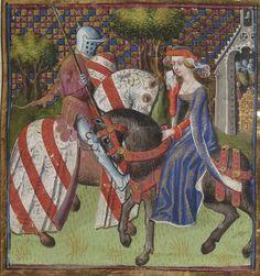 Lancelot-Graal. 3° « L'Ystoire Lancelot du Lac », la Quête du Saint Graal, la Mort d'Arthus de « GAUTIER MOAB ». Auteur : Maître des cleres femmes (). Enlumineur manuscrit Langue : Français