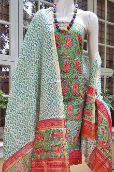 Elegant Block Printed Chanderi & Cotton Unstiched Suit Fabric