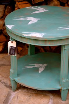 Hand Painted Turquoise Teal Upcycled Table with by meredithmbrooks, $165.00