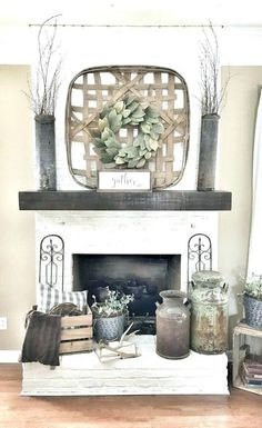 Country Home Decor Painted white brick fireplace. Tobacco basket over fireplace.Country Home Decor Painted white brick fireplace. Tobacco basket over fireplace. Decor, Modern Farmhouse Decor, Rustic House, Farmhouse Fireplace, White Brick Fireplace, Home Decor, Farm House Living Room, Fireplace Decor, Farmhouse Style Living Room