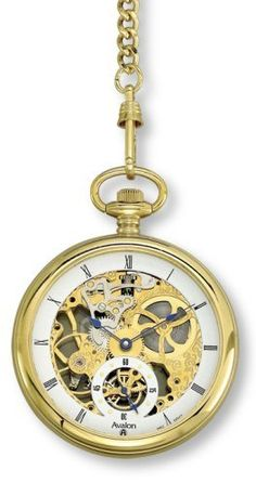 """Avalon Gold-Tone 17 Jewel Mechanical (Wind-Up) Skeleton Pocket Watch with Chain # 8619G Avalon. $149.95. Includes 14"""" Gold Tone Chain with Belt Clip. Stainless Steel Construction. 17 Jewel Mechanical Movement. Genuine Mineral Crystal Lens and Back displays Moving Parts. Beautiful Presentation Box and Lifetime Limited Warranty Included"""