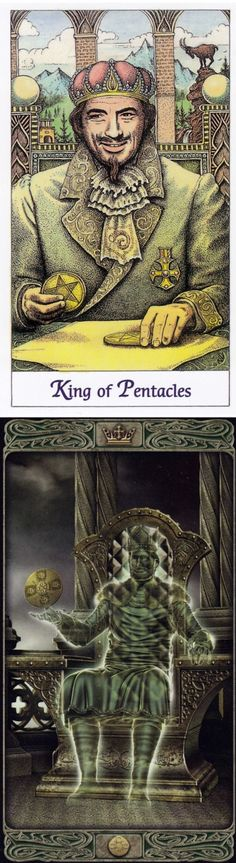 King of Pentacles: financial success and infinite desire for more things (reverse). Cosmic Tarot deck and Ghost Tarot deck: free tarot reading new age store, get a free reading vs tarot cards prediction. Best 2017 tarot altar cloth and fortune telling diy. #pentacle #judgement #altar #tattoo #spellwork #tarotcards