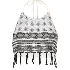 River Island White print halter neck crop top ($29) ❤ liked on Polyvore featuring tops, crop top, white crop top, pattern tops, tassel top and halter-neck crop tops