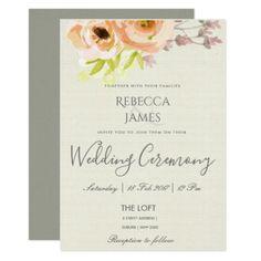 ROMANTIC PEACH PINK GREY FLORAL WEDDING CARD - wedding invitations diy cyo special idea personalize card