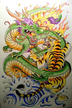 TRADITIONAL JAPANESE TIGER VS DRAGON DRAWING TATTOO INSPIRATION BY LPT