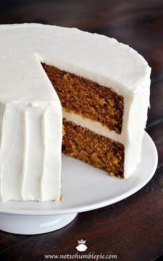 Pumpkin Spice Cake with Whipped Cream Cheese Frosting.