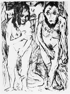 2.48 Max Beckmann, Adam and Eve, 1917, published 1918. Drypoint, (German)