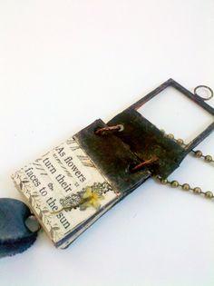 Miniature Book Pendant Glass Journal Tiny Poem Book by Mystarrrs