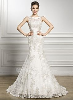 Trumpet/Mermaid Scoop Neck Court Train Satin Lace Wedding Dress With Ruffle (002056967)