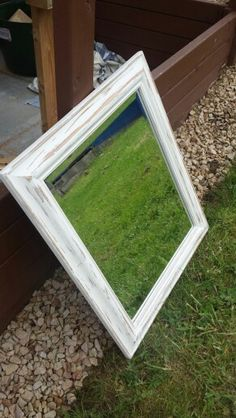 Upcycled charity mirror...antique white chalkpaint...SOLD!!