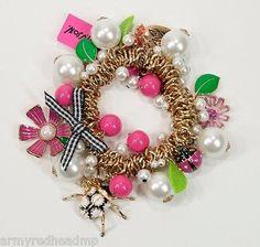 New Betsey Johnson Gold Iconic Flower Girl Crystal Stretch bracelet B03154