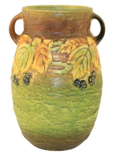 """Large and striking Roseville Pottery Blackberry vase with good mold and colors. MINT CONDITION. No chips, cracks, damage or repair of any kind. Vase is 8 1/4"""" tall and 5 3/4"""" wide. ESTATE FRESH!"""
