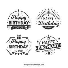 Flat set of fantastic birthday stickers Free Vector