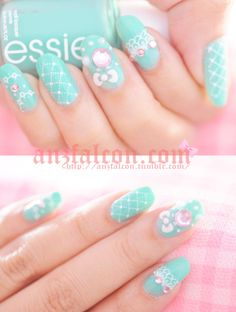 """""""Hime Gyaru deco baby pink nails"""
