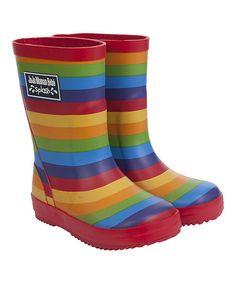 Another great find on #zulily! Rainbow Stripe Rain Boot #zulilyfinds