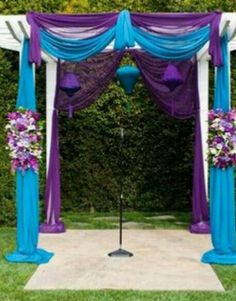 Pure and turquoise wedding arch Peacock Theme, Peacock Wedding, Purple Wedding, Wedding Colors, Wedding Flowers, Sequin Wedding, Wedding Themes, Our Wedding, Dream Wedding
