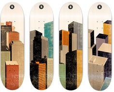skateboards. Great looking city boards. I like the worn look of the paint. Gives them an ancient city feel!