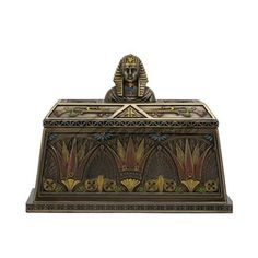Unicorn Studios Art Deco - Egyptian Pharaoh Bust Trinket Box - Bronze, As Shown Egyptian Pharaohs, Egyptian Goddess, Ancient Egyptian Art, Canopic Jars, Egypt Art, Art Deco Diamond, Trinket Boxes, Find Art, Boxer