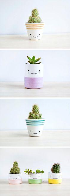 Pra sair da mesmice e deixar seu ambiente mais charmoso, personailize os vasinhos de plantas. <3    #decoração #design #madeiramadeira