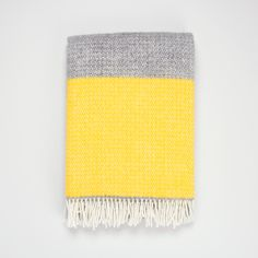 Back in stock! Yellow and grey wool blanket | Pure new wool throw for the sofa