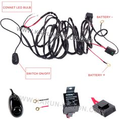 40 Amp Off Road ATV/Jeep Wrangler LED Light Bar Wiring Harness with Relay & ON/OFF Switch
