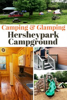 Tips for camping and glamping at Hersheypark! If you're on a budget, try the Hersheypark Camping Resort! You can camp in a tent, an RV or go glamping in a deluxe cabin with indoor plumbing! Perfect for kids and large families on a budget. Have a staycation adventure for those that live close to Hershey, PA. Hershey Park campground is one of the 3 resorts Hershey has to offer on property besides Hershey Lodge and The Hotel Hershey.