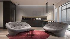 Sofá Ploum de @ligneroset en un apartamento de Moscú por KDVA Architects. Más info: http://bit.ly/2dFIa3W @archilovers
