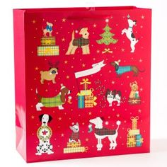 Front view of holiday gift bag
