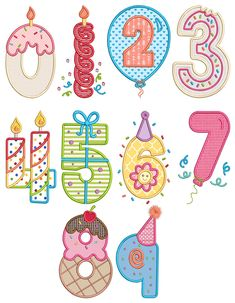 Birthday Numbers Applique Designs by JuJu Exclusive Embroidery Store, Embroidery Software, Embroidery Fonts, Embroidery Applique, Applique Designs, Machine Embroidery Designs, Caligraphy Alphabet, Kid Fonts, Simple Doodles