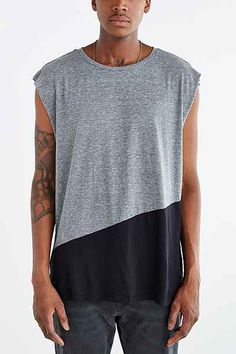 Feathers Angled Colorblocked Muscle Tank Top