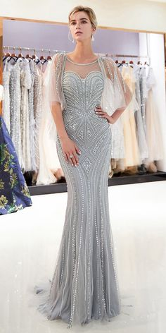 Wedding Dresses Ball Gown, Fantastic Tulle Jewel Neckline Natural Waistline Mermaid Formal Dress With Beadings MagBridal Formal Wedding Guests, Mother Of The Bride Gown, Mermaid Evening Dresses, Groom Dress, Bridesmaid Dresses, Wedding Dresses, Formal Gowns, Dress Formal, Beautiful Gowns