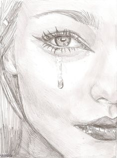 bleistiftzeichnung Behind every beautiful thing there is some kind of pain- Bob Dylan Sad Drawings, Girl Drawing Sketches, Art Drawings Sketches Simple, Pencil Art Drawings, Cry Drawing, Drawing Eyes, Girl Crying Drawing, Crying Girl, Beautiful Sketches