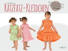 DIY Ratzfatz-Kleidchen mit gratis Schnitt und Anleitung. Smoken, Raffen, Freebook, nähen