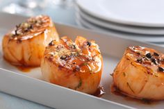 Grilled Scallops with Lemon Pepper Sauce. Diana Sauce, Lemon Pepper Sauce, Seafood Recipes, Cooking Recipes, Grilled Scallops, Scallop Recipes, Food Displays, What To Cook, Finger Foods