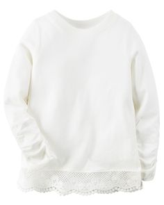 Toddler Girl Long-Sleeve Embroidered Lace Tee | Carters.com