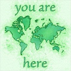 World Map Airy Square with 'You Are Here' In Green And White by elevencorners. World map wall print decor. #elevencorners #mapairy