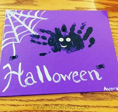 Spider Handprint! - Adorable Handprint/Footprint Halloween Crafts - Crafty Morning