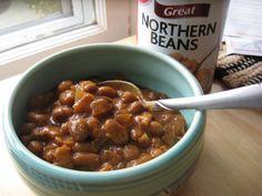Ginger Lemon Girl: Easy Gluten Free Boston Baked Beans Recipe (white beans, bacon, onion, molasses, black pepper, safe ketchup, gf worchershire sauce, brown sugar, dry mustard)