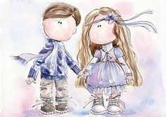 Watercolor Print, Little girl and little boy, Watercolor Painting, Valentine's day, Purple poster wall, Teenage Love, Love print sweet