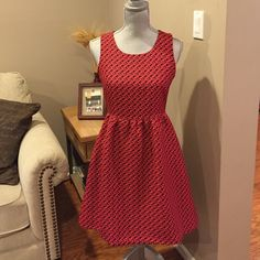 """Anthropologie dress by Lili Wang Anthropologie dress in red, high low design. Exposed zipper and has pockets!!! This dress does run small, size 6 but fits a size 2! The shoulder to waist is 37"""", waist to hem in front is 49"""", and the waist to hem in the back is 57"""". No trades. Anthropologie Dresses High Low"""