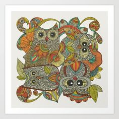 4 Owls Art Print by Valentina