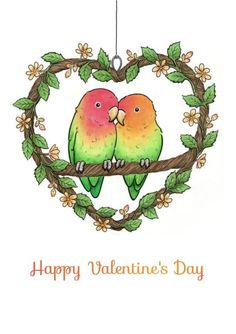 Another awesome greeting card created for @thortful by Hazel Fisher Creations. Love Birds 'Happy Valentine's Day' card design.