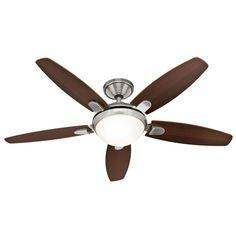 "Hunter Contempo 52"" Indoor Ceiling Fan - 5 Reversible Blades Light Kit and Rem Brushed Nickel Fans Ceiling Fans Indoor Ceiling Fans"