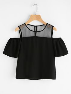 Store Open Shoulder Mesh Panel Prime on-line. SheIn presents Open Shoulder Mesh Panel Prime & extra to suit your trendy wants. Girls Fashion Clothes, Teen Fashion Outfits, Mode Outfits, Outfits For Teens, Girl Fashion, Girl Outfits, Fashion Dresses, Fashion Black, Fashion Ideas