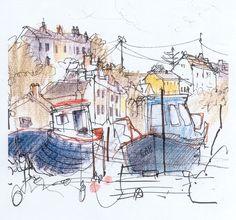 Boats at Porthgain.   Sketchbook line & pastel.  Felicity House
